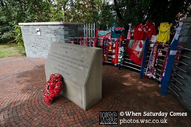 The Hillsborough memorial to the 96 Liverpool fans who died in the disaster of 1989. Sheffield Wednesday 2 Notts County 1, 20/08/2011. Hillsborough, League One. Photo by Paul Thompson.