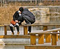 Tianjin couple kissing water park love romantic photo
