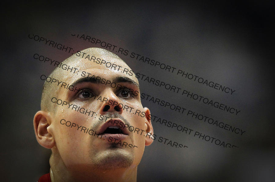 BELGRADE, SERBIA - JANUARY 08: Maik Zirbes of Crvena Zvezda Telekom Belgrade looks on during the Turkish Airlines Euroleague Basketball Top 16 Round 2 game between Crvena Zvezda Telekom Belgrade and Fenerbahce Istanbul in Pionir Hall on January 08, 2015 in Belgrade, Serbia.  (Photo by Srdjan Stevanovic/Getty Images)