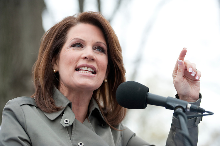 "UNITED STATES - MARCH 31: Rep. Michelle Bachmann, R-Minn., speaks to the crowd at the Tea Party Patriots' ""Continuing Revolution"" rally at the U.S. Capitol on Thursday, March 31, 2011. (Photo By Bill Clark/Roll Call)"