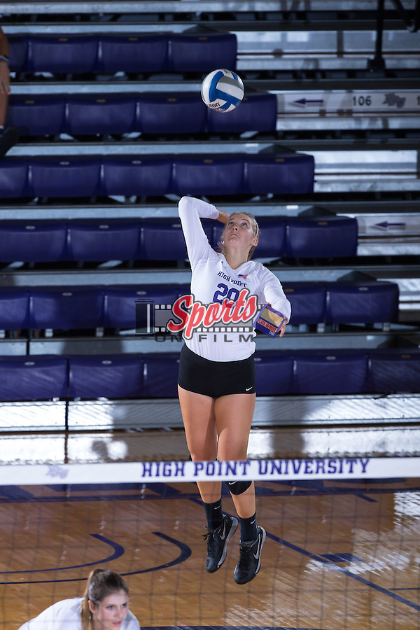 Haley Barnes (20) of the High Point Panthers serves against the Wake Forest Demon Deacons at the Panther Invitational at the Millis Athletic Center on September 12, 2015 in High Point, North Carolina.  The Demon Deacons defeated the Panthers 3-1.   (Brian Westerholt/Sports On Film)