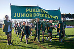 Pukekohe Junior Rugby Club take part in the march past before the ITM Cup Round 1 rugby game between Counties Manukau Steelers and Bay of Plenty, played at Bayer Growers Stadium Pukekohe, on Sunday July 17th 2011.