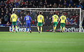 1st December 2017, Cardiff City Stadium, Cardiff, Wales; EFL Championship Football, Cardiff City versus Norwich City; Joe Ralls of Cardiff City penalty beats Angus Gunn of Norwich City making the score 1-1 in the 2nd half