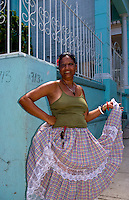 Havana capitol city of Cuba closeup of woman portrait in the Old Havana area