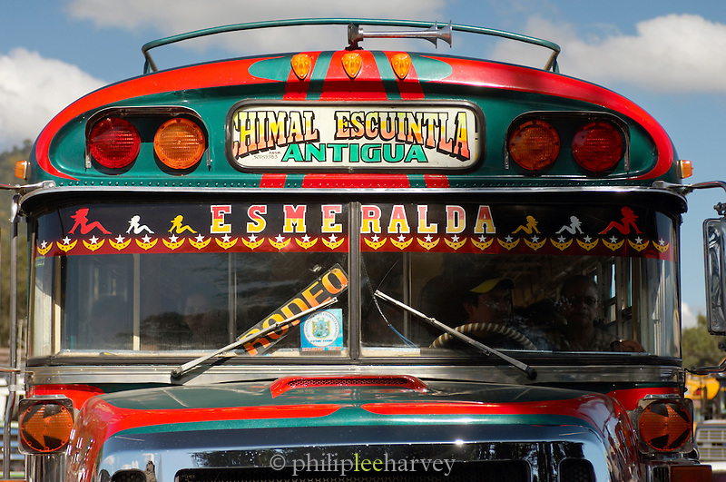 A colourful local bus in Antigua, a UNESCO World Heritage Site in Guatemala