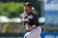 Kannapolis Intimidators starting pitcher Jake Sanchez (33) delivers a pitch to the plate against the Hagerstown Suns at CMC-Northeast Stadium on June 1, 2014 in Kannapolis, North Carolina.  The Intimidators defeated the Suns 5-1 in game one of a double-header.  (Brian Westerholt/Four Seam Images)