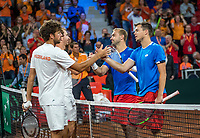 The Hague, The Netherlands, September 16, 2017,  Sportcampus , Davis Cup Netherlands - Chech Republic, Doubles : Robin Haase (NED) / Matwe Middelkoop (NED) (L) win the double and het the congratulations from Adam Pavlasek and Roman Jebavy<br /> Photo: Tennisimages/Henk Koster