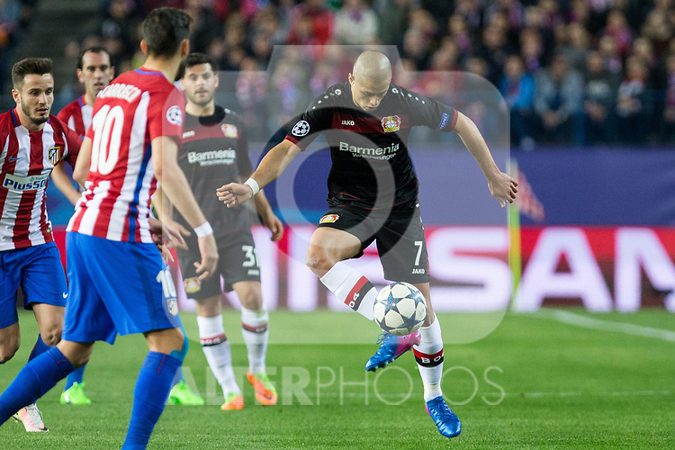 Javier Hernandez Chicharito of Bayer 04 Leverkusen during the match of Uefa Champions League between Atletico de Madrid and Bayer Leverkusen at Vicente Calderon Stadium  in Madrid, Spain. March 15, 2017. (ALTERPHOTOS / Rodrigo Jimenez)