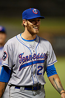 Tennessee Smokies pitcher Zach Hedges (27) after a game against the Birmingham Barons on August 16, 2018 at Regions FIeld in Birmingham, Alabama.  Tennessee defeated Birmingham 11-1.  (Mike Janes/Four Seam Images)