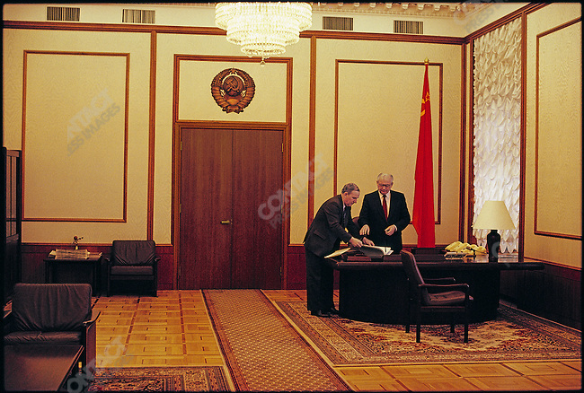 President Mikhail Gorbachev in his Kremlin office with an aide. Moscow, USSR, June 1990
