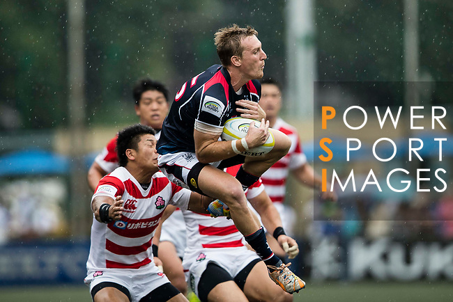 Alex McQueen of Hong Kong in action during the Asia Rugby Championship 2017 match between Hong Kong and Japan on May 13, 2017 in Hong Kong, Hong Kong. (Photo by Cris Wong / Power Sport Images)
