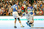 Leipzigs Alen Milosevic (Nr.34) am Kreis gefault im Spiel der Handballliga, Bergischer HC - SC DHFK Leipzig.<br /> <br /> Foto &copy; PIX-Sportfotos *** Foto ist honorarpflichtig! *** Auf Anfrage in hoeherer Qualitaet/Aufloesung. Belegexemplar erbeten. Veroeffentlichung ausschliesslich fuer journalistisch-publizistische Zwecke. For editorial use only.
