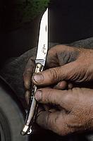 Europe/France/Auvergne/12/Aveyron/Laguiole: Fabrication des couteaux Laguiole - Société Laguiole - Polissage