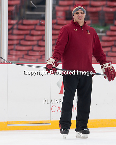 Marty McInnis (BC - Assistant Coach) - The Boston College Eagles practiced on the rink at Fenway Park on Friday, January 6, 2017.