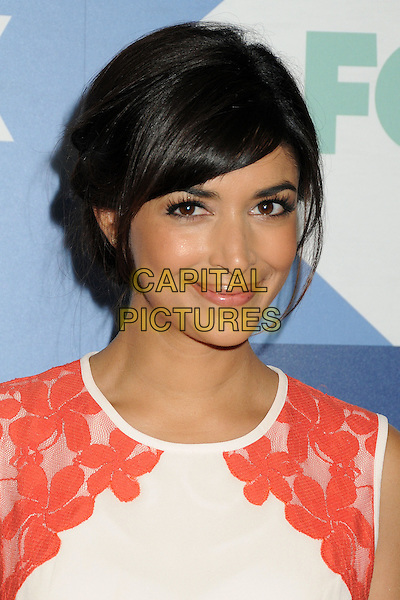 Hannah Simone<br /> Fox All-Star Summer 2013 TCA Party held at Soho House, West Hollywood, California, USA, 1st August 2013.<br /> portrait headshot nude sleeveless red cream floral lace smiling <br /> CAP/ADM/BP<br /> &copy;Byron Purvis/AdMedia/Capital Pictures