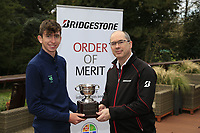Tom McKibbin winner of the junior Bridgestone Order of Merit pictured with Colm Conyngham Bridgestone Ireland at the presentations in the GUI National Academy, Maynooth, Kildare, Ireland. 30/11/2019.<br /> Picture Fran Caffrey / Golffile.ie<br /> <br /> All photo usage must carry mandatory copyright credit (© Golffile | Fran Caffrey)