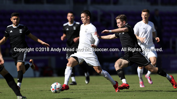 Orlando, Florida - Monday January 15, 2018: Paul Marie and Jon Gallagher. Match Day 2 of the 2018 adidas MLS Player Combine was held Orlando City Stadium.