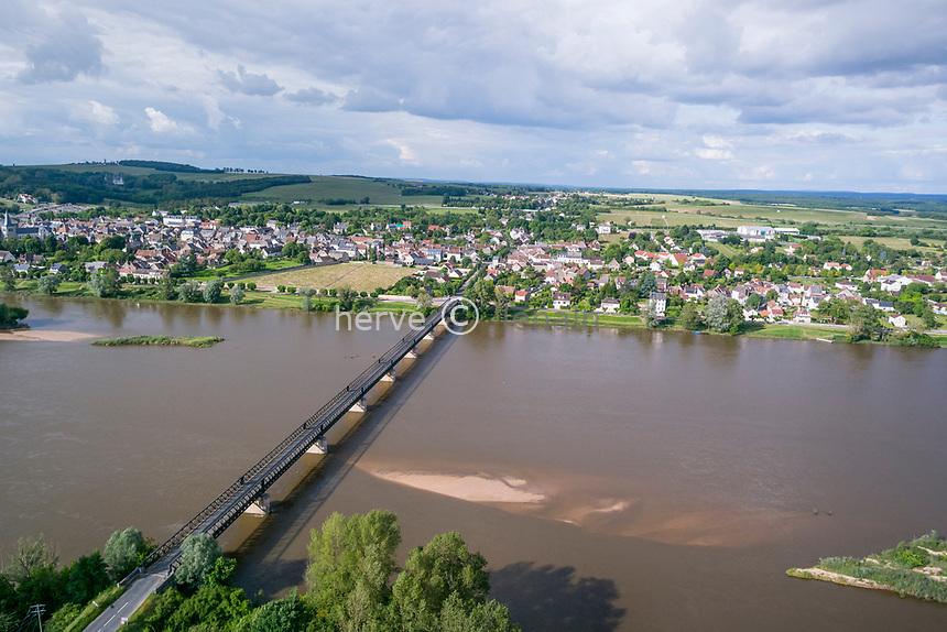 France, Nièvre (58), Réserve naturelle nationale du val de Loire, Pouilly-sur-Loire, pont sur la Loire et le village (vue aérienne)