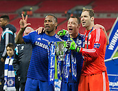 01.03.2015.  London, England. Capital One Cup Final. Chelsea versus Tottenham Hotspur. Chelsea's Didier Drogba, John Terry and Petr Čech with the trophy.