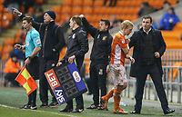 Blackpool manager Gary Bowyer congratulates Mark Cullen as he is substituted late in the game<br /> <br /> Photographer Alex Dodd/CameraSport<br /> <br /> The EFL Sky Bet League Two - Blackpool v Stevenage - Tuesday 14th March 2017 - Bloomfield Road - Blackpool<br /> <br /> World Copyright &copy; 2017 CameraSport. All rights reserved. 43 Linden Ave. Countesthorpe. Leicester. England. LE8 5PG - Tel: +44 (0) 116 277 4147 - admin@camerasport.com - www.camerasport.com