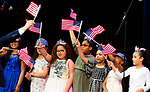WATERBURY,  CT-052019JS07- Regan Elementary School student ding &quot;Wavin' Flag&quot; during the Waterbury Public School's Celebration Community Through the Arts II district-wide talent show held Monday at the Palace Theater in Waterbury. <br /> Jim Shannon Republican American
