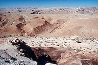 NEGEV DESERT<br /> Rift Valley, Israel<br /> A Makhtesh (crater) cut by a wadi (desert flooding). This is not meteorite crater. It is a valley surrounded by steep walls.