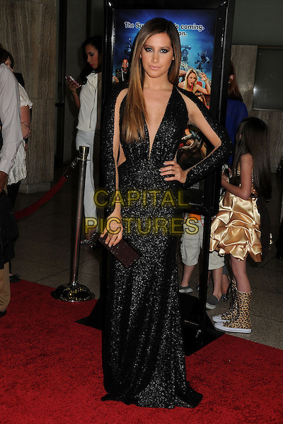 """Ashley Tisdale.Attending the """"Scary Movie 5"""" Los Angeles film premiere held at the Cinerama Dome,  Hollywood, California, USA, .11th April 2013..full length dress sleeves cut out sheer see thru through black sequined sequin low cut ombre hair dyed clutch bag sleeves long maxi hand on hip .CAP/ADM/BP.©Byron Purvis/AdMedia/Capital Pictures"""