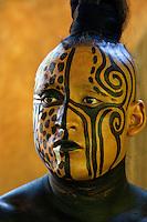 Mayan Dancer Representing  Ek Balam, Jaguar, the Warrior.  Xcaret, Riviera Maya, Yucatan, Mexico.