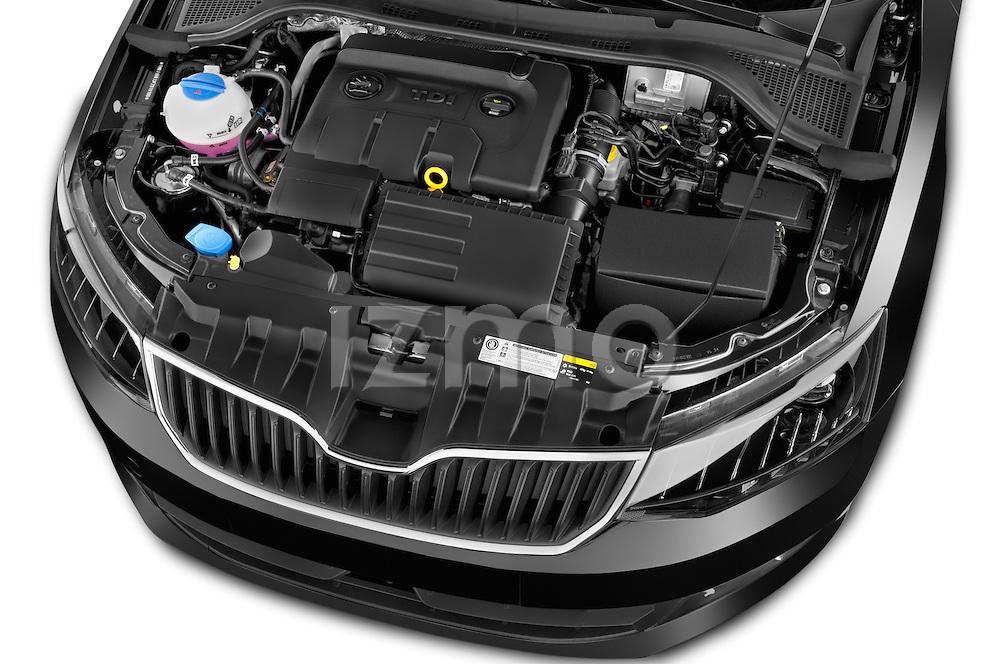 Car Stock 2015 Skoda Fabia Ambition 5 Door Wagon Engine high angle detail view