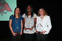 14 December 2007: 2007 AVCA National Players of the Year (L-R) Division II Vicky Braegelmann, from the University of Minnesota Duluth, Division I Foluke Akinradewo, from Stanford University, and Division III Amber Thomas, from Juniata College, during Stanford's 2007 American Volleyball Coaches Association (AVCA) Division I All-America/Player of the Year Banquet at the Sacramento Convention Center in Sacramento, CA.