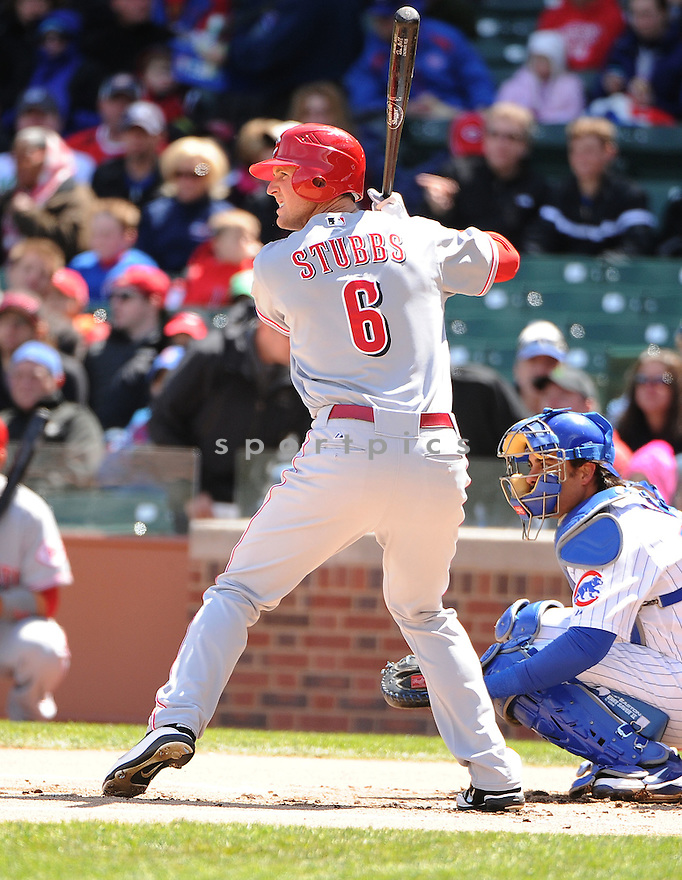 DREW STUBBS, of the Cincinnati Reds, in action during the Reds game against the Chicago Cubs on April 22, 2012, at Wrigley Field in Chicago, IL. The Reds beat the Cubs 4-3.