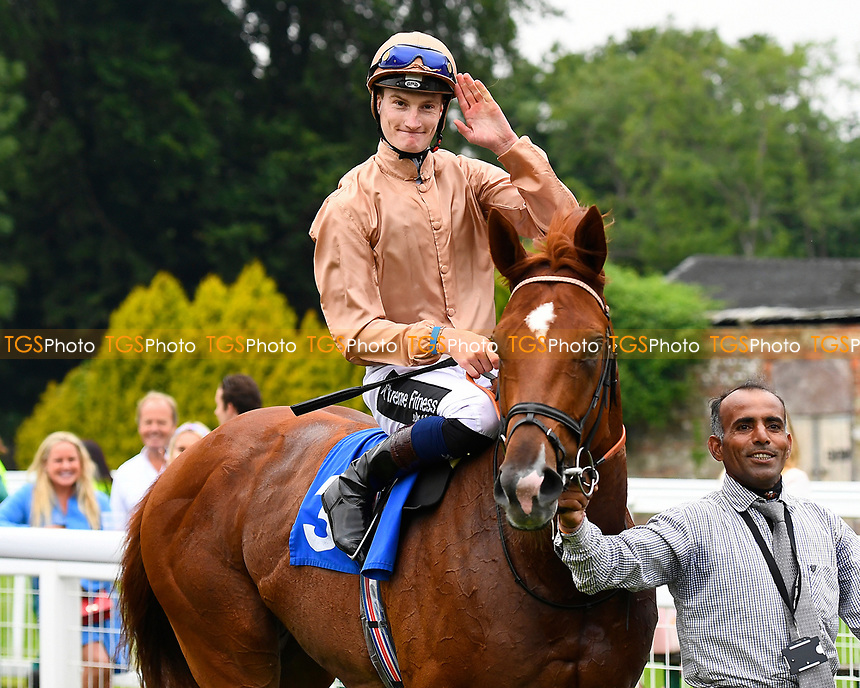Winner of The CPA Scaffolding Maiden Stakes, Robin Weathers ridden by Daniel Muscutt and trained by William Haggas  are led into the winners enclosure during Ladies Evening Racing at Salisbury Racecourse on 15th July 2017