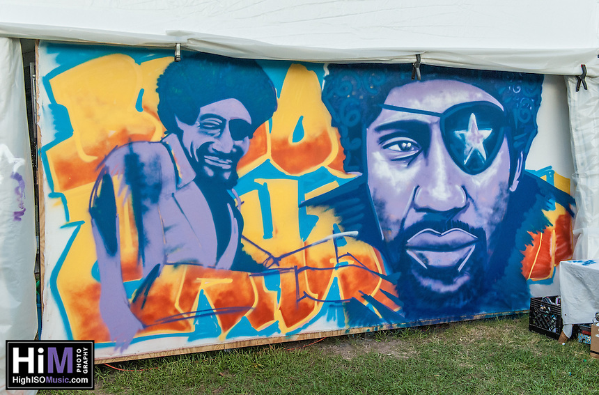 A James Booker spray painting at Jazz Fest 2014.