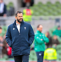 8th February 2020; Aviva Stadium, Dublin, Leinster, Ireland; International Six Nations Rugby, Ireland versus Wales; Irish head coach Andy Farrell watches as the team warms up