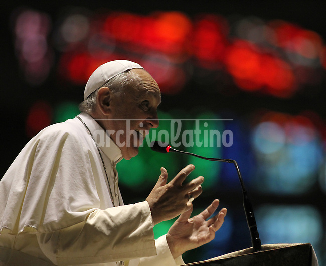 Pope Francis during a visit to Rio church