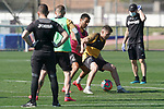 Getafe's Angel Rodriguez (l) and Francisco Portillo during training session. May 19,2020.(ALTERPHOTOS/Acero)