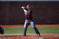 Richard Ortiz (16) of the Concord Mountain Lions at bat against the Wingate Bulldogs at Ron Christopher Stadium on February 2, 2020 in Wingate, North Carolina. The Mountain Lions defeated the Bulldogs 12-11. (Brian Westerholt/Four Seam Images)