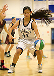 NJB 7th and 8th grade Girls at LAHS.  January 22, 2017<br /> <br /> <br /> Emily McNally gets in position for a shot. NJB 7th and 8th grade Girls at LAHS.  January 22, 2017