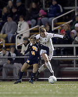 "Boston College forward Brooke Knowlton (16) on the attack as West Virginia forward Chelsey Corroto (14) defends. Boston College defeated West Virginia, 4-0, in NCAA tournament ""Sweet 16"" match at Newton Soccer Field, Newton, MA."
