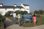 People at Coastguard shop and tea room, National Trust property, Dunwich Heath, Suffolk, England