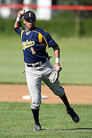 """May 10,2010:  Shortstop Chris """"Cito"""" Culver (1) of the Irondequoit Eagles takes infield before a game vs. the Canandaigua Braves during a Monroe County regular season game at Evans Field in Canandaigua, NY.  The game was called with a 19-19 score after 7 innings because of darkness.  Photo by Mike Janes/Four Seam Images."""