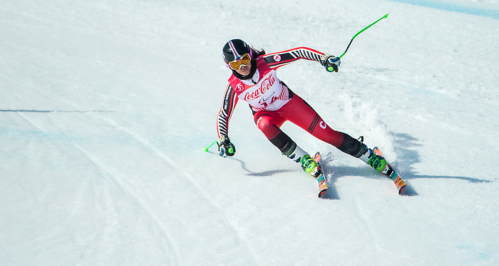 PyeongChang 13/3/2018 - Alana Ramsay skis in the super-G portion of the super combined at the Jeongseon Alpine Centre during the 2018 Winter Paralympic Games in Pyeongchang, Korea. Photo: Dave Holland/Canadian Paralympic Committee