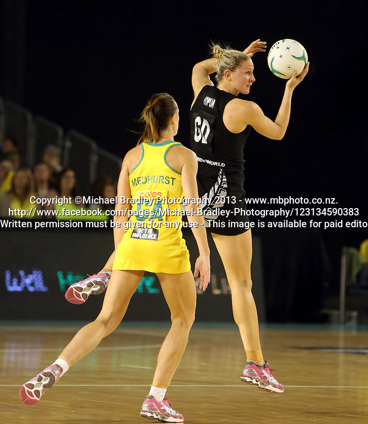 07.10.2013 Silver Fern Casey Kopua in action during the Silver Ferns V Australian Diamonds Netball Series played at the Rod Laver Arena in Melbourne Australia. Mandatory Photo Credit ©Michael Bradley.
