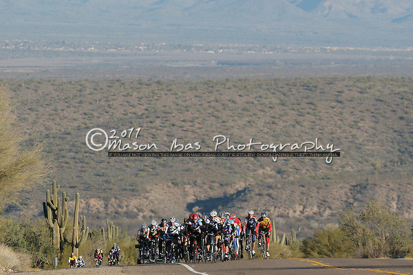 The peloton climbs up Usery Pass during the Usery Pass road race.