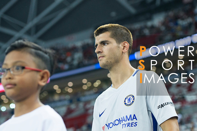 Chelsea Forward Alvaro Morata getting into the field during the International Champions Cup 2017 match between FC Internazionale and Chelsea FC on July 29, 2017 in Singapore. Photo by Marcio Rodrigo Machado / Power Sport Images