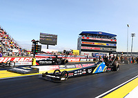 Sep 2, 2017; Clermont, IN, USA; NHRA top fuel driver Ashley Sanford (near) races alongside Wayne Newby during qualifying for the US Nationals at Lucas Oil Raceway. Mandatory Credit: Mark J. Rebilas-USA TODAY Sports