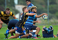 Action from the Wellington premier preseason club rugby match between Johnsonville and Wellington Axemen at Ian Galloway Park in Wellington, New Zealand on Saturday, 24 February 2018. Photo: Dave Lintott / lintottphoto.co.nz