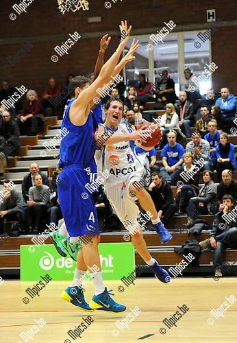 2013-12-08 / Basketbal / seizoen 2013-2014 / Kangoeroes - Pepinster / Stefan Zivanovic (r. Kangoeroes) met Besovic<br /><br />Foto: Mpics.be