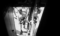 Fabian Cancellara (SUI/Trek-Segafredo) getting on the team bus in the morning<br /> <br /> stage 2: Arnhem-Nijmegen (NLD) 190km<br /> 99th Giro d'Italia 2016