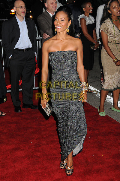 "JADA PINKETT SMITH.""The Women"" Los Angeles Premiere at Mann's Village Theatre, Westwood, California, USA..September 4th, 2008.full length silver grey gray strapless dress bracelets clutch bag beads beaded.CAP/ADM/BP.©Byron Purvis/AdMedia/Capital Pictures."